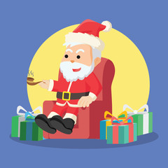 santa sitting with many christmas boxs
