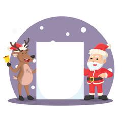 santa with deer holding blank paper