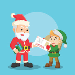 christmas elf giving letter to santa