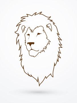 Lion head outline graphic vector