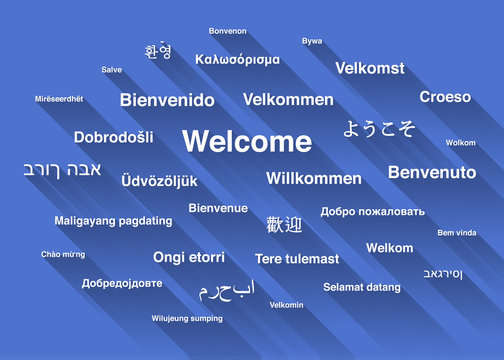 White welcome phrase in different languages