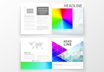 Square Brochure Layout with Multicolored Geometric Element