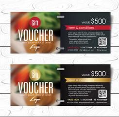 Gift voucher template with luxury pattern.Restaurant voucher. Vector illustration