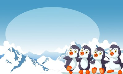 funny four penguin cartoon with snow mountain landscape background