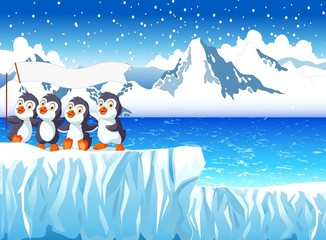 funny penguins cartoon with snow mountain landscape background