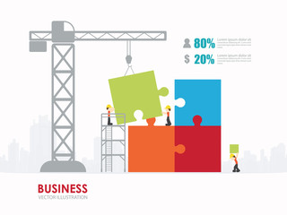 Infographic people with puzzle template design.building to success concept vector illustration / graphic or web design layout.