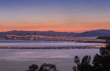 Richmond-San Rafael Bridge in California at dusk.