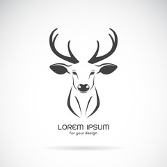 Vector image of a deer head design on white background, Vector d