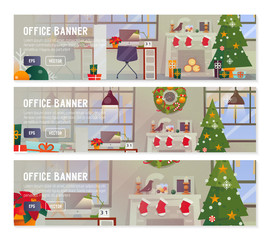 Vector flat design concepts of Office Interior Workplace with decorations.