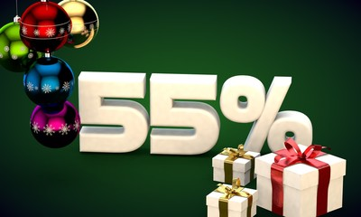 3d illustration rendering of Christmas sale 55 percent discount