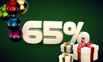 3d illustration rendering of Christmas sale 65 percent discount