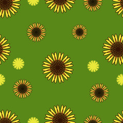 Seamless pattern with sunflowers on green background. Summer texture.