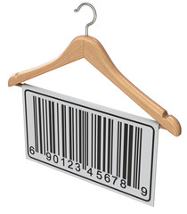 Abstract barcode label on wooden hanger isolated on white background