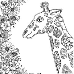 hand drawn ink doodle giraffe and flowers on white background. design for adults, poster, print, t-shirt, invitation, banners, flyers. sketch. vector eps 8.