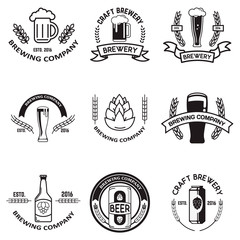 Set of beer labels in line style. Design elements for logo, labe