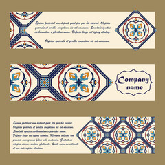 Vector set of colorful horisontal banners for business and invitation. Portuguese, Azulejo, Moroccan; Arabic; asian ornaments