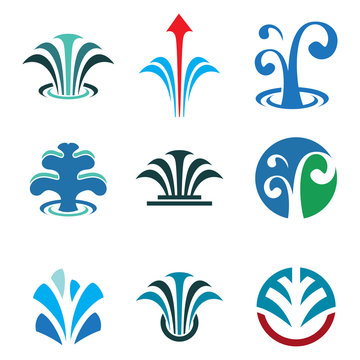 Fountain Spring Water Business Logo Symbol Collection