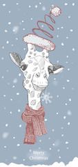cute giraffe in Christmas hat with snowflake. The inscription merry Christmas. vector