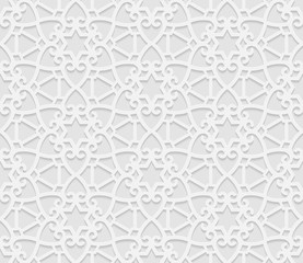 Seamless 3D white pattern, arabic geometric  pattern,  indian ornament, persian motif,  vector. Endless texture can be used for wallpaper, pattern fills, web page  background,  surface textures.