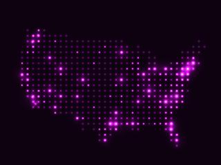 Dotted night map USA