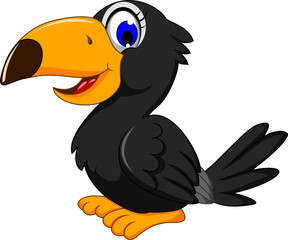 cute black bird cartoon posing
