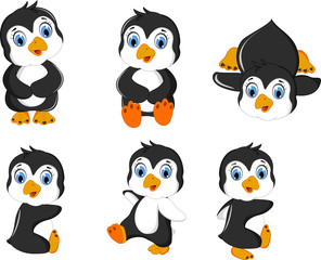 baby penguins cartoon set character