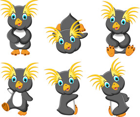 king penguins cartoon set character
