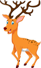 cute deer cartoon posing