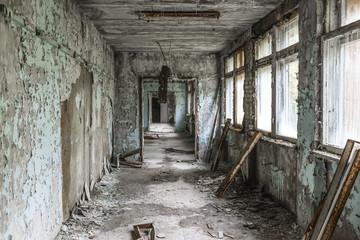 Hallway of abandoned school in Chernobyl.