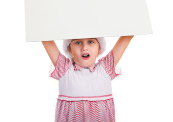Small Girl with Blank Board