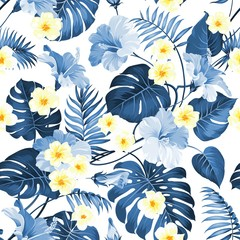 Seamless tropical flower. Tropical plumeria and blue palm leaves. Fabric swatch with pradise flowers isolated over white background. Blossom plumeria for seamless pattern background.