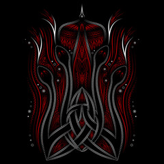 animal Celtic ornament, fire snakes and bird, vector, use opacity mask