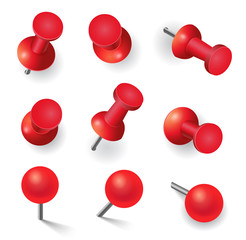 Set of different red pins