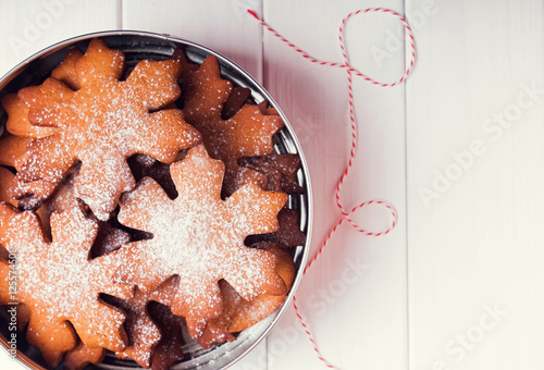 Traditional Christmas Cookies In A Tin Box Stock Photo And Royalty
