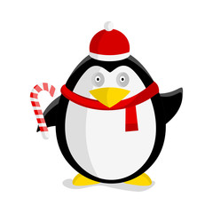 Christmas Penguin Vector Flat Design Illustration