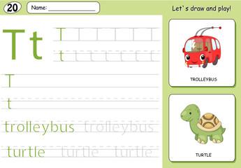 Cartoon trolleybus and turtle. Alphabet tracing worksheet: writi