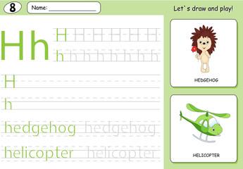 Cartoon hedgehog and helicopter. Alphabet tracing worksheet: wri