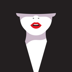 High fashion. Cartoon a glamorous woman with red lips on black background. Vector illustration fashionable woman in black