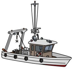 Hand drawing of a small fishing boat