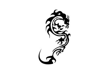 Vector version. Isolated tattoo of black dragon tattoo