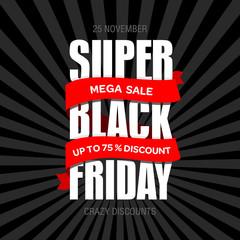 Black Friday sale best design template. Black Friday banner, poster, badge, sticker, web advertising vector illustration.