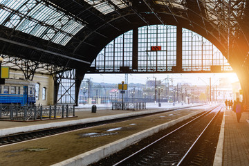 Acrylic Prints Train Station The railway station in Lviv, Ukraine. The design is similar to the train station in Milan, Italy.Early morning. Soft focus. Toning