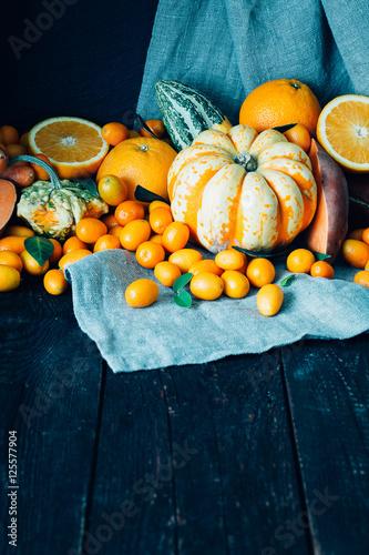 Autumn Harvest On Dark Wooden Background Free Space For