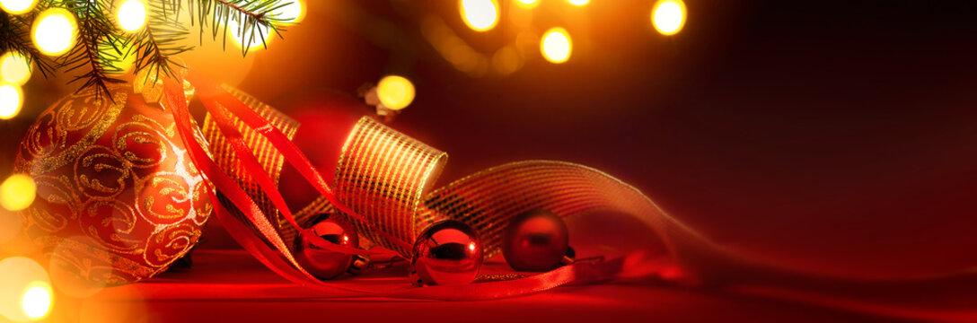Merry Christmas; Holidays background with Xmas tree decoration o