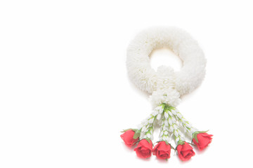 Flower garlands in thai style on white background.