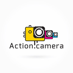 Action camera icon, colorful vector illustration, Logo Template, extreme video cam symbol, camera design element