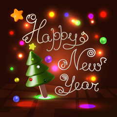 Happy New Year 3d lettering over festive background