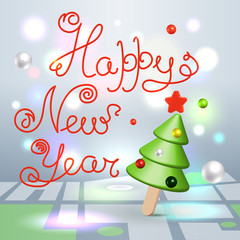 Happy New Year greetings 3d lettering