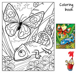 Butterfly and chameleon. Coloring book. Cartoon vector illustration