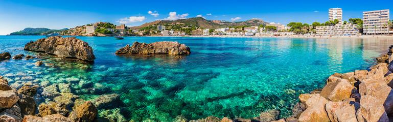 Obraz Mediterranean Sea Coastline Panorama of Platja de Palmira Paguera Majorca Spain - fototapety do salonu